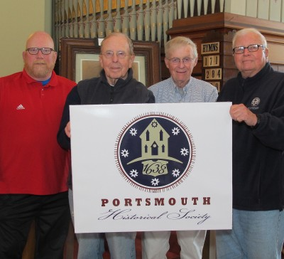 left to right Thomas Roskelly, Gary Gump, Society President, Jim Garman & Doug Smith